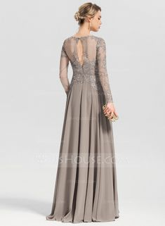 A-Line/Princess Scoop Neck Floor-Length Chiffon Evening Dress With Beading Sequins - Evening Dresses - JJ's House Muslim Wedding Dresses, Wedding Party Dresses, Prom Dresses, Mother Of The Bride Dresses Long, Mothers Dresses, Vestidos Fashion, Fashion Dresses, Dress Design Drawing, Hijab Dress Party