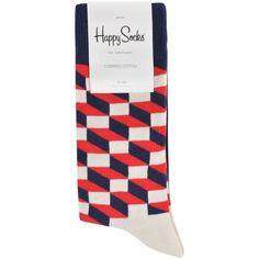 HAPPY SOCKS Optic Socks (645 RUB) ❤ liked on Polyvore featuring intimates, hosiery and socks