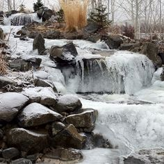 Waterfall at Naches Heights Vineyard's wine tasting room in winter. Yakima, Washington.