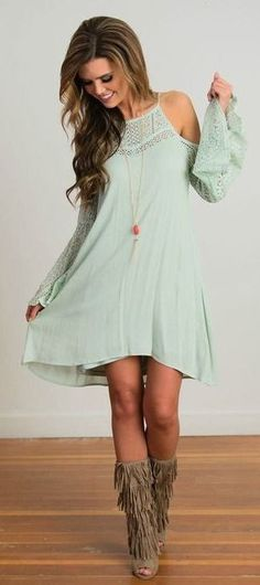 Lace polyester solid long sleeve above knee casual dresses damenkleider online, fashion outfits, womens Mode Outfits, Chic Outfits, Spring Outfits, Vestidos Country, Country Dresses, Boho Chic, Boho Style, Gypsy Chic, Pretty Dresses