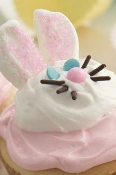 """Cake mix and ready-to-spread frosting make these deliciously sweet bunnies super easy. Betty member MaddieW suggests leaving a couple of the faces blank so the kids can construct their own bunny faces. She says this adorable Easter dessert is """"well worth the effort."""""""