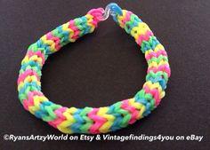 Glow In Dark Neon Pink Green Yellow Handmade Chevron Bracelet Rainbow Loom Rubber Band on Etsy, $3.00