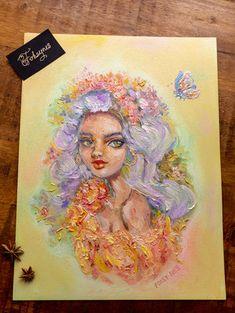 Items similar to Flower's lady - original oil painting on paper on Etsy Oil Painting On Paper, Ap Studio Art, Pastel Art, Art Studios, Art World, Art Inspo, Art Drawings, Cool Art, Saatchi Art