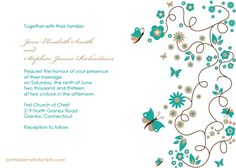 FREE PDF Template. Butterfly Garden Wedding Invitation - template is very easy to edit and print at home.