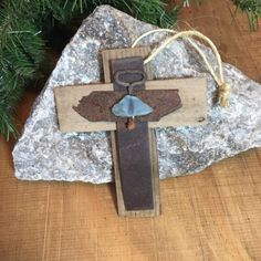 Rustic Primitive Christmas Tree Ornament Wall Hanging Handmade Old West Western Pale Blue Desert Sea Glass Unique Rustic Metal 45 yr old Garden Lattice Wood Holiday Tree Ornament Decor Decoration Cross
