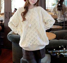 Stylish Round Collar Twist Argyle Pattern Long Sleeves Slimming Sweater For Women (WHITE,ONE SIZE) | Sammydress.com