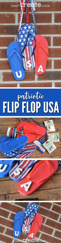 This patriotic USA flip flop sign is great for Memorial Day, the 4th of July or just to show your overall patriotism.  via @CraftCreatCook1
