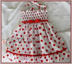 Another pretty candy dress in red and white polka-dot, size 3T.    The top of the dress has sewn with elastic fiber therefore it stretches very