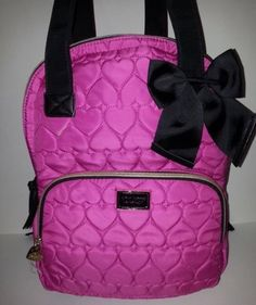 BETSEY JOHNSON FUSHIA/PINK PUFFY QUILTED HEART BE MINE BACKPACK WEEKENDER TOTE #BetseyJohnson