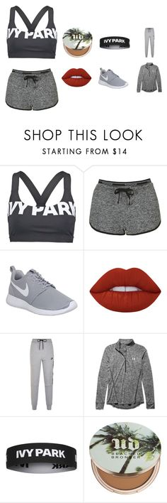 """Ivy Park Workout Outfit"" by coral45 on Polyvore featuring Ivy Park, Topshop, NIKE, Lime Crime, Under Armour and Urban Decay"