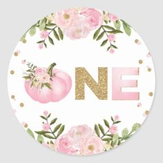 Pumpkin First Birthday Pink Floral Autumn Fall Classic Round Sticker Fall First Birthday, Fall 1st Birthdays, First Birthday Party Favor, Pumpkin 1st Birthdays, Pumpkin Birthday Parties, Pumpkin First Birthday, Pink And Gold Birthday Party, First Birthday Themes, Baby Girl 1st Birthday