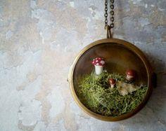 Woodland Moss Terrarium Brass Locket Necklace