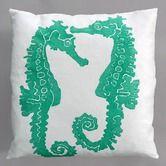 Found it at AllModern - Seahorse Turquoise Pillow on White Linen