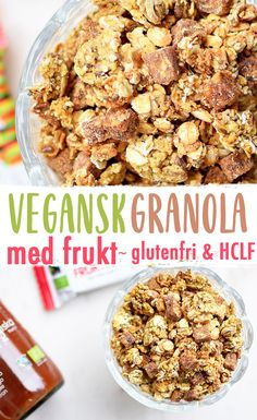 En vegansk granola som är glutenfri. Granolan är smaksatt med fruktjuice för naturlig sötma. Fri från olja och vitt socker.
