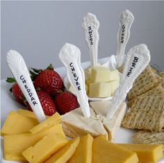 Porcelain Cheese Markers, Set of 5 Antique Spoon Patterns. $34.95, via Etsy.