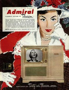 Admiral Console Television vintage ad, – Admiral, Clearest Picture in Television. Radio Vintage, Vintage Tv, Vintage Prints, Vintage Posters, Retro Advertising, Vintage Advertisements, Vintage Television, Television Set, Retro Housewife
