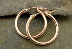 Rose Gold Filled Hoops - Large - One Pair - Simple Rose, Gold Hoops, Designer Earrings, Beautiful Earrings, Gifts For Her, Jewelry Design, Hoop Earrings, Rose Gold, Pearls