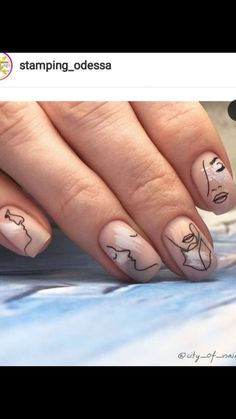 I hope you like the design of hand-painted nails, can also show personality on manicure. Chic Nails, Stylish Nails, Love Nails, Pretty Nails, Minimalist Nails, Nail Art Abstrait, Picasso Nails, Nail Art Designs, Ten Nails