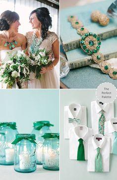 Aqua + Emerald http://www.theperfectpalette.com/2013/10/wedding-colors-aqua-emerald.html