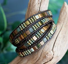 Tila Beaded Leather Wrap Green Bronze Miyuki Tila 4 by PJsPrettys