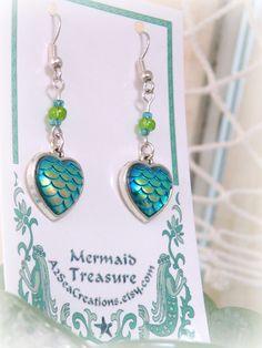 Gifts for her Mermaid Life Nautical Sea Beach Dangle Earrings Ocean Gifts for Mom Mermaid Earrings Green Mermaid Scale Earrings