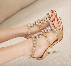 Cleo Gold Jeweled Gems Open toe Wedding Party Dress Sandal High Heel Shoe sz.6