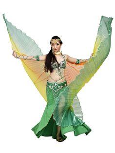 Amazon.com: Dance Fairy Rainbow Belly Dance Isis Big Wings(Orange,Yellow&Dark Green mixed No.4).: Sports & Outdoors