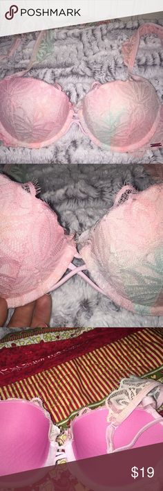 Victoria's Secret PINK Push-Up Lace Bra Push-Up, light pink with hints of light blue, adjustable straps, 32C, only worn once PINK Victoria's Secret Intimates & Sleepwear Bras