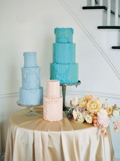 Soft and romantic spring wedding inspiration with a pastel color block palette - 100 Layer Cake Pearl Cake, Spring Wedding Inspiration, 100 Layer Cake, Wedding Reception Decorations, Pastel Colors, Beautiful Cakes, Wedding Cakes, Palette, Romantic