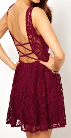 Shop John Zack Skater Dress In Lace With Open Back at ASOS. Prom Party Dresses, Sexy Dresses, Cute Dresses, Graduation Dresses, Lace Burgundy Dress, Red Lace, Floral Lace, Diesel Punk, Lace A Line Dress