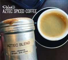 I& moved away from sweetened, artificially flavored lattes, and fallen in love with spiced coffee. Check out what I found at a local coffee shop Tea Recipes, Coffee Recipes, Paleo Recipes, Spiced Coffee, Paleo Coffee, Keto Bullet Proof Coffee, Blended Coffee Drinks, Homemade Iced Coffee, Low Carb Drinks