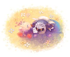 Kirby and Meta Knight. Oh so cute ^-^