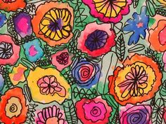 watercolor flowers. Great art project for children. Choose watercolor paper. Use a fine point Sharpee marker to create abstract flowers. Allow Sharpee to set for a few minutes then watercolor away! Frameable.