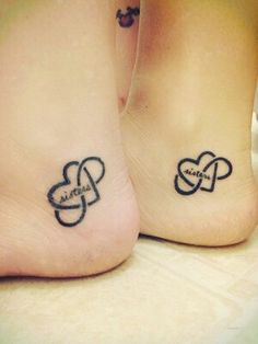 heart, infinity, Tattoos, sisters, leg