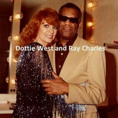 "Dottie West and Ray Charles, backstage at taping of ""A Special Kenny Rogers"" (aired on April 12, 1979)."