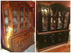 Before and After gel stained china cabinet. Used Old Masters gel stain in Spanish Oak