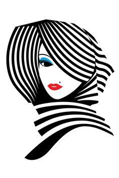 Illustration Art by Malika Favre stripes Art And Illustration, Portrait Illustration, Vector Illustrations, Fashion Illustrations, Arte Pop, Pop Art, Art Graphique, Art Design, Oeuvre D'art