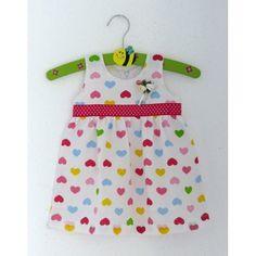 Girls Cotton Sleeveless Frock With Multicolor Heart Print - White #summerdresses #dressesforgirls #babyfrocks