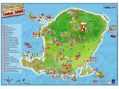 Tourism map of Lombok Island - Indonesia