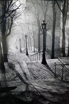 Montmartre, Paris, France, 1936 by Brassai.my favorite place we visited in paris Montmartre Paris, Oh The Places You'll Go, Places To Visit, Street Photography, Art Photography, Night Photography, Travel Photography, France Photography, Chicago Photography