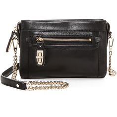 Rebecca Minkoff Mini Crosby Cross Body Bag (255 CAD) ❤ liked on Polyvore featuring bags, handbags, shoulder bags, bolsas, black, crossbody purse, rebecca minkoff crossbody, leather shoulder bag, mini crossbody purse and black crossbody