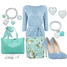 """If my butt could only walk in these shoes, I would so love to have this outfit!!!!  #polyvore, polyvore, fashions from polyvore """"Sweet Tiffany inspired blue outfit"""""""