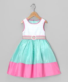 Pink & Pale Green Jamie Dress - Toddler & Girls by Dorissa Kids Frocks, Frocks For Girls, Little Girl Outfits, Cute Outfits For Kids, Toddler Girl Dresses, Girls Dresses, Toddler Girls, Dress Anak, Baby Dress