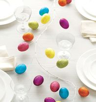 """Easter Egg Garland~Wow your Easter guests with this festive and flexible 6-foot-long garland of 27 glittering easter eggs (each, 2 1/4"""" L). Coated wire, polyfoam. Imported.  For decorative use only. This is not a toy. Keep out of reach of children.~$12.99  ~To shop my ALWAYS OPEN Avon store: http://sgruman.avonrepresentative.com"""