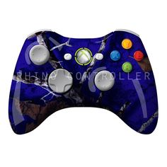 XBOX 360 controller Wireless Glossy WTP-314-Mothwing-Gameday-Blue Custom Painted- Without Mods