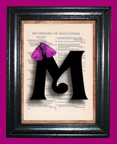 Curly Letter M with Fuchsia Purple Moth  Vintage by CocoPuffsArt, $9.99