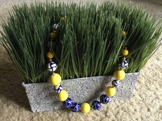 Navy Blue and Bright Yellow Beaded Choker Necklace, Nautical Necklace by BeadMeetsGirl on Etsy