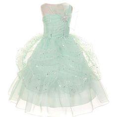 KiKi Kids USA Girls Mint One Shoulder Bow Sparkle Organza Party Dress
