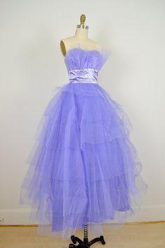 1950s prom dress / 50s Vintage Violet Strapless by ManicVintage, $135.00