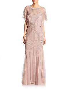 Aidan Mattox Dolman-Sleeve Beaded Godet Gown- love the idea